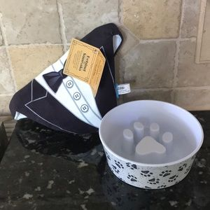 Dog bowl and tuxedo neck cape